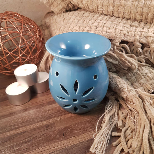 Blue Open Flower Design Oil Burner