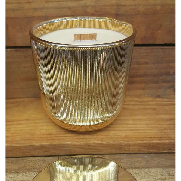 Mistletoe & Cedar - Wooden Wicked Ribbed Glass Candle