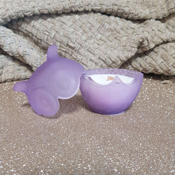 Lavender Rosemary Patchouli - Petite Lilac Wood Wick Owl Candle