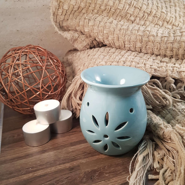 Teal Open Flower Design Oil Burner