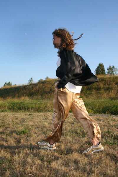 GOLD SILK PANTS