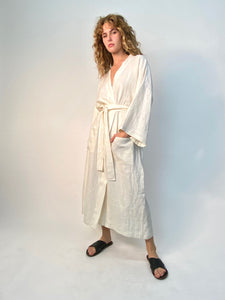 "linen  robe  unisex  creme linen kimono style up-cycled from dead stock fabric   made in LA  Charlie is 5'8"" & wearing a size medium"
