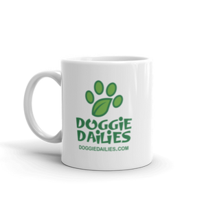 Doggie Dailies White Glossy Mug | Dishwasher Safe | Made in the USA