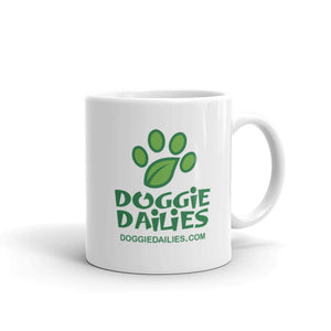 White Glossy Mug - Doggie Dailies Logo (Dishwasher Safe)