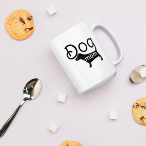 Dog Mom - White Glossy Mug - Dishwasher Safe