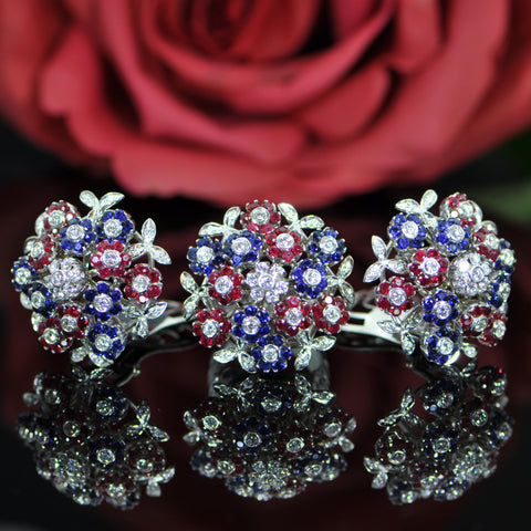 Cartier, Ruby Sapphire Diamond Flower-theme Earrings - Lueur Jewelry