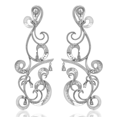 White Gold and Diamond Pendant Earrings - Lueur Jewelry