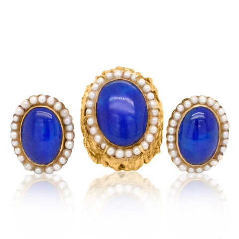 Lapis Lazuli and Seed Pearl Demi Parure - Lueur Jewelry