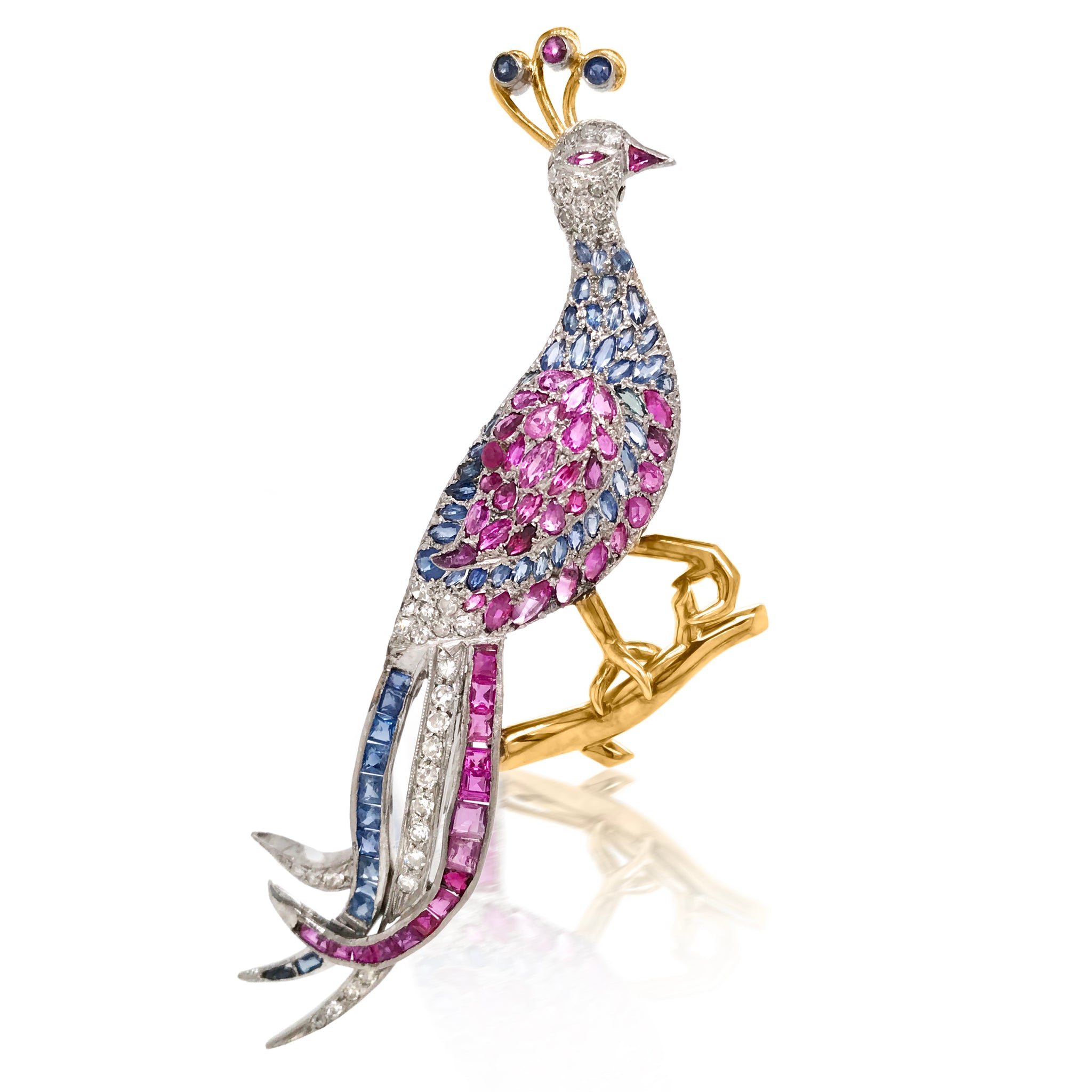 Diamond Sapphire and Ruby Peacock Brooch - Lueur Jewelry