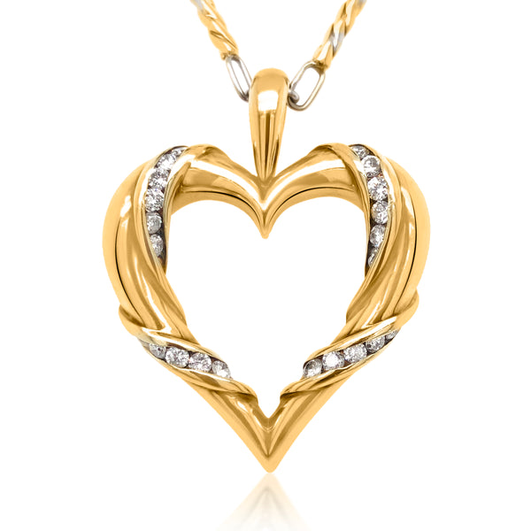 14K Gold Heart-shaped Diamond Necklace - Lueur Jewelry