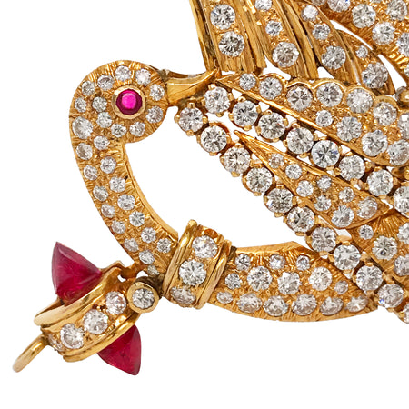 14K Gold Swan-Shaped Brooch Pendant with Diamond and Ruby - Lueur Jewelry