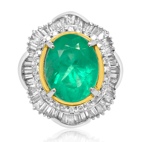 A 5.5ct Oval Platinum Emerald Diamond Ballerina-Style Ring - Lueur Jewelry