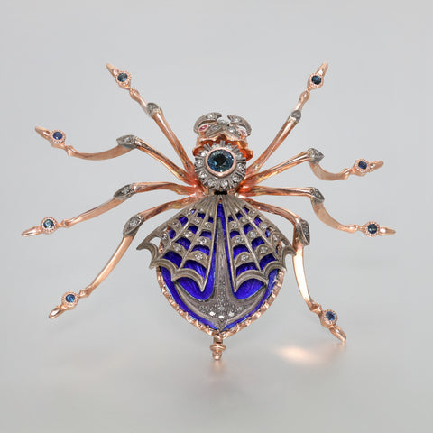 Antique Russian 14K Rose Gold Spider Brooch with Diamonds and Sapphires, circa 1910
