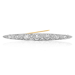 Art Deco Platinum Diamond Bar Brooch - Lueur Jewelry