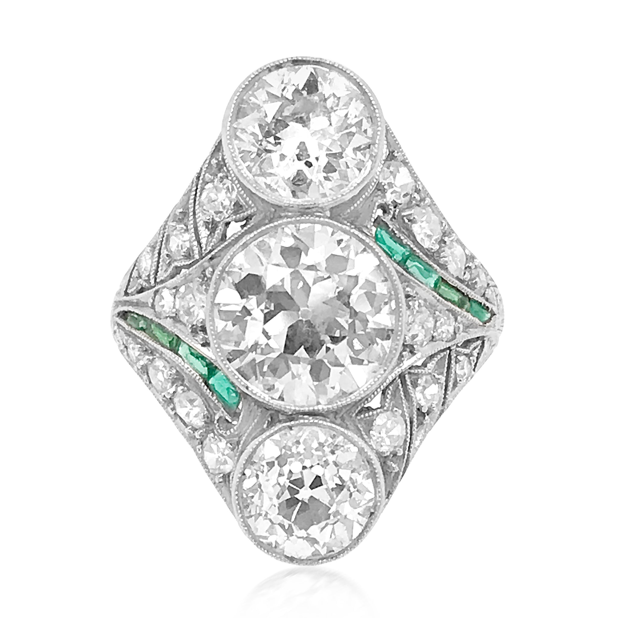 Edwardian Three Diamond Ring - Lueur Jewelry