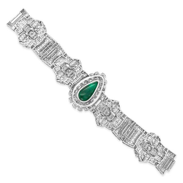 Clerc, Pear-shaped Platinum Diamond Emerald Bracelet - Lueur Jewelry