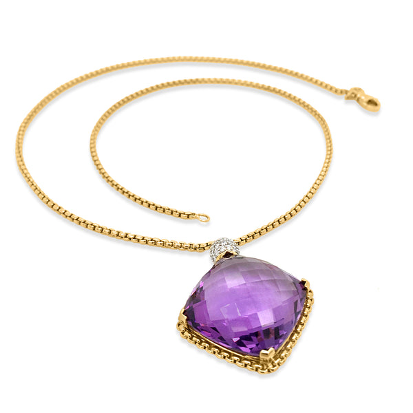 Square Cushion-shaped Amethyst Pendant Necklace - Lueur Jewelry