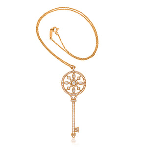 Tiffany, Gold Diamond Key-shaped Pendant - Lueur Jewelry