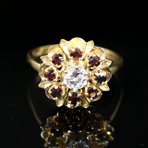 Gold Diamond and Garnet Ring - Lueur Jewelry