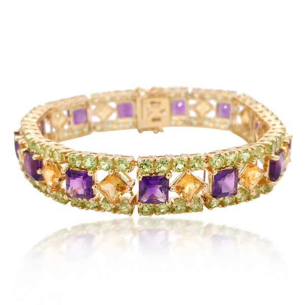Gold Wristband with Amethyst and Citrine - Lueur Jewelry