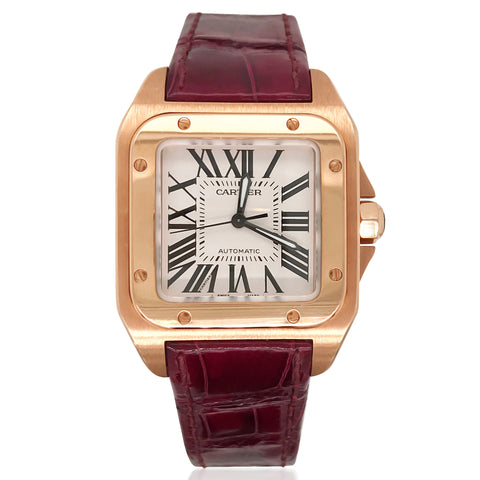 Cartier Santos, Ladies 18K Rose Gold Watch - Lueur Jewelry