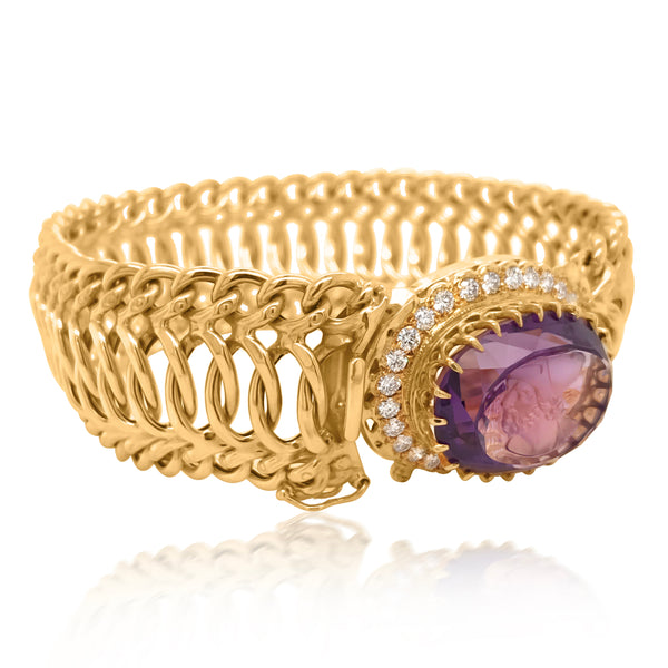 18K Gold Carved Amethyst and Diamond Wristband - Lueur Jewelry