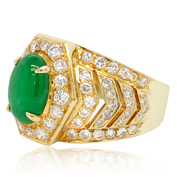 Gold Oval Jade and Diamond Ring - Lueur Jewelry