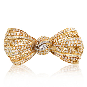 Van Cleef & Arpels, Bowtie-shaped Gold Diamond Brooch - Lueur Jewelry