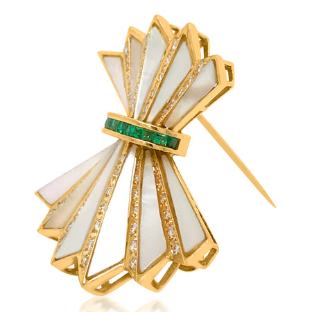 18K Gold Diamond Nacre Brooch - Lueur Jewelry