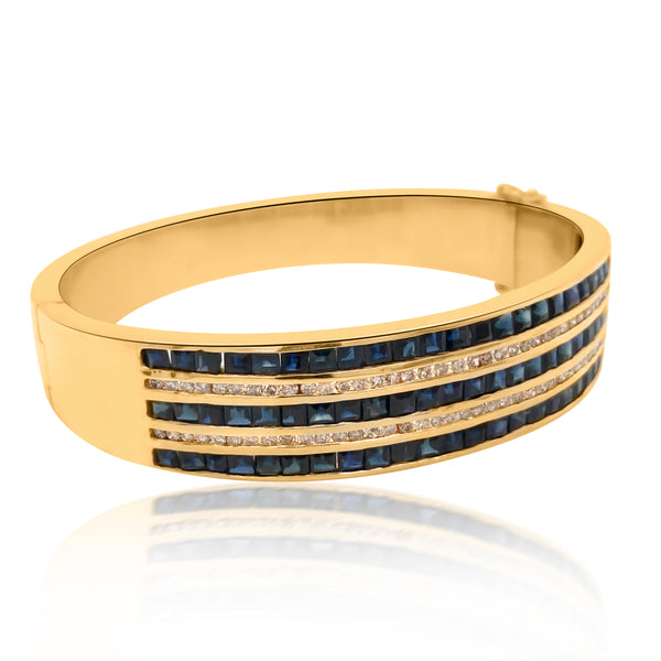 18K Gold Diamond Sapphire Bangle Bracelet - Lueur Jewelry