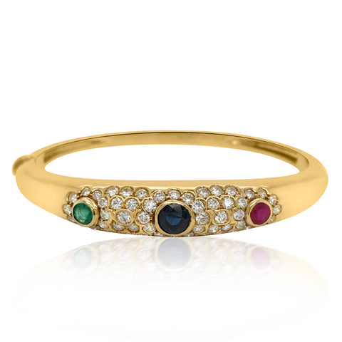18K Gold Sapphire, Ruby Emerald Diamond Bangle Bracelet - Lueur Jewelry
