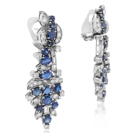 14K Gold Diamond Sapphire Dangle Earrings - Lueur Jewelry