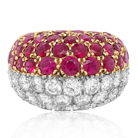Cartier, Studded Ruby Diamond Ring - Lueur Jewelry