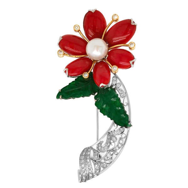 White Gold Coral Jade Pearl Diamond Flower Brooch - Lueur Jewelry