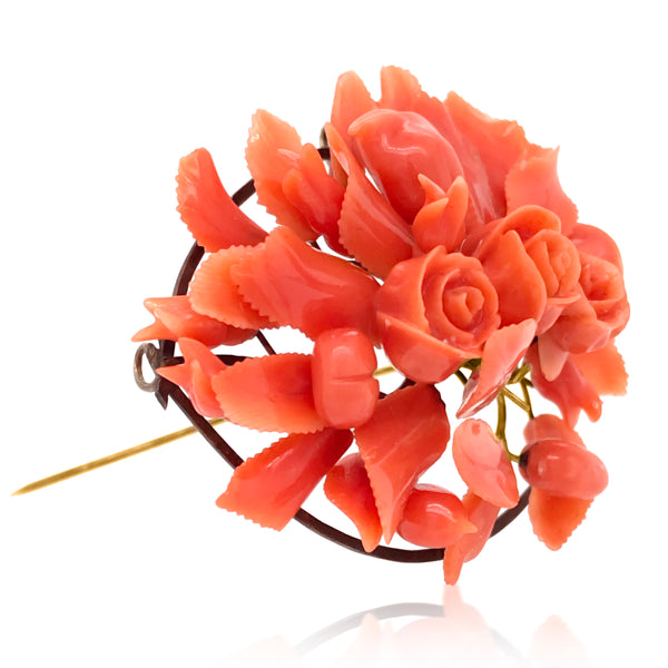 Rose-Motif Coral Brooch - Lueur Jewelry