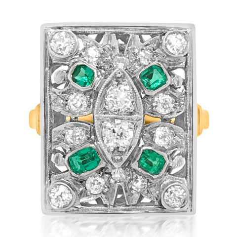 Art Deco 14K Yellow Gold Emerald Diamond Ring - Lueur Jewelry