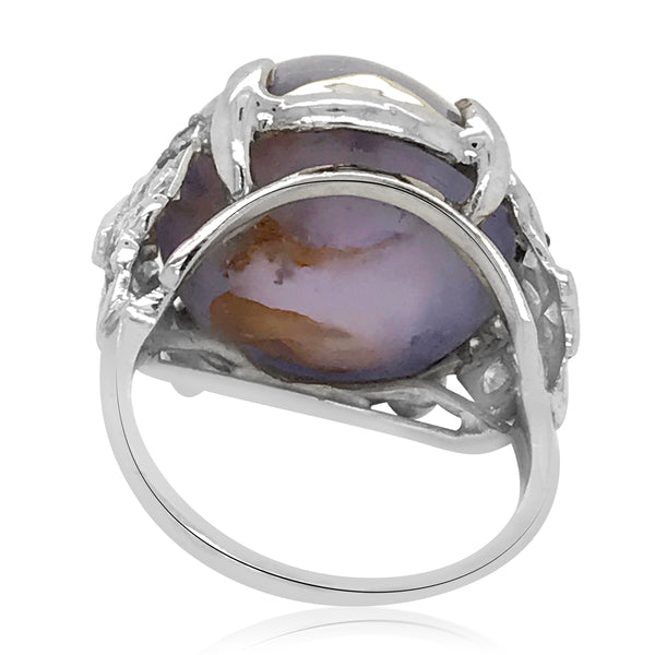 A 32.00 ct Antique Platinum Star Sapphire Diamond Ring - Lueur Jewelry