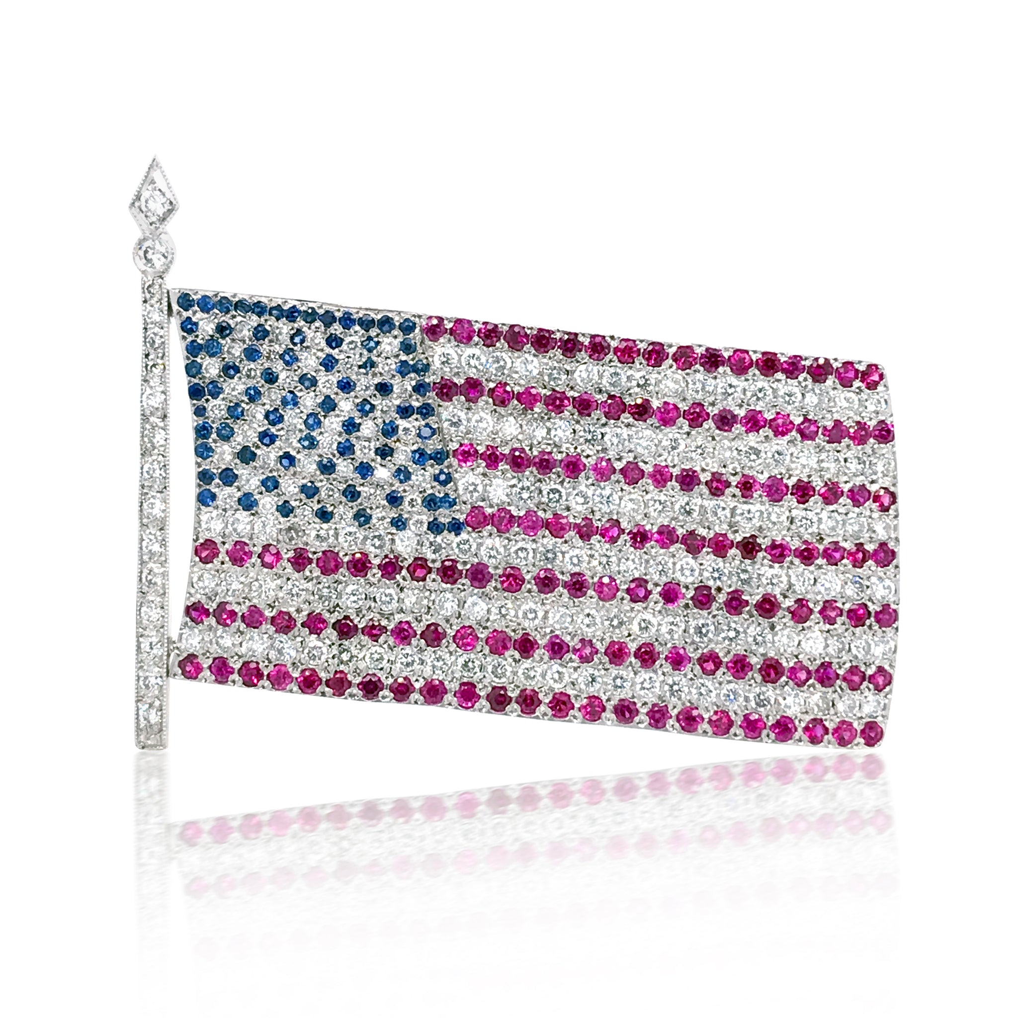 Platinum Ruby Sapphire Diamond American Flag Brooch - Lueur Jewelry