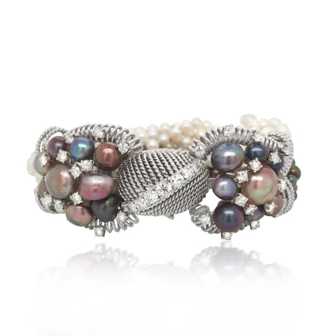 David Webb, Multistrand White and Black Pearls Diamond Bracelet - Lueur Jewelry