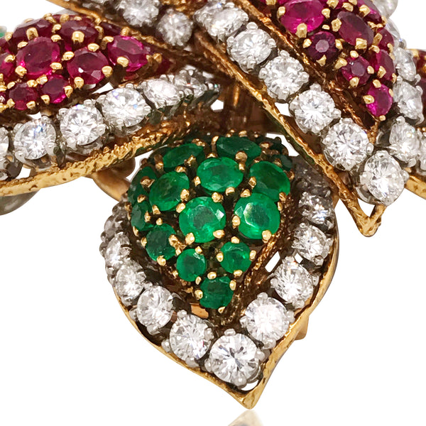 Van Cleef & Arpels, Emerald, Ruby and Diamond Flora Brooch - Lueur Jewelry