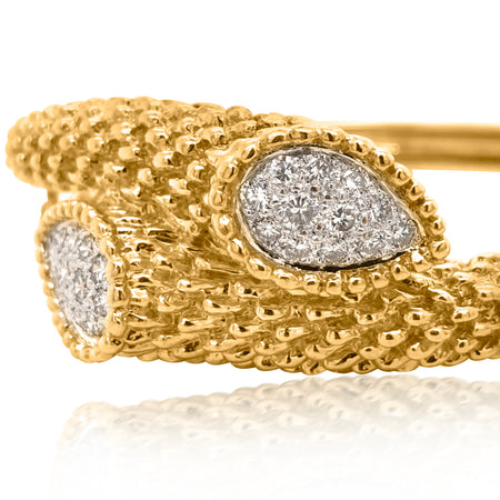 18K Gold Diamond Crossover Bangle Bracelet - Lueur Jewelry