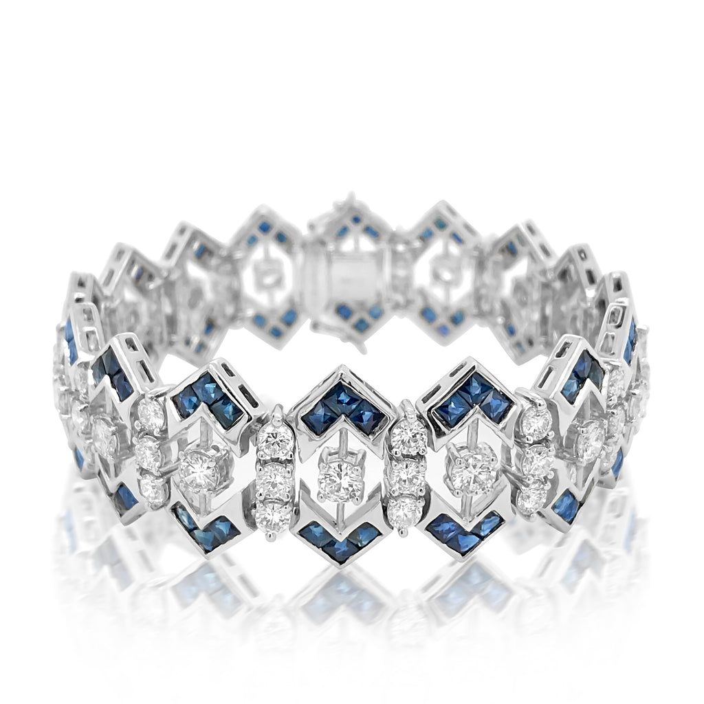 Tiffany, Diamond and Sapphire Bracelet - Lueur Jewelry