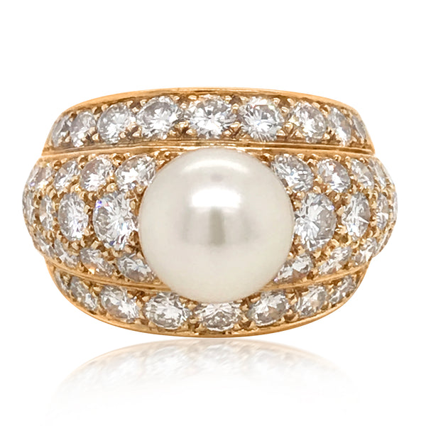 Cartier, Diamond Gold Ring with Center Pearl - Lueur Jewelry