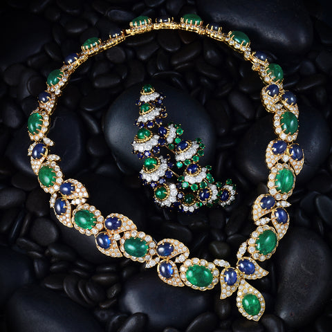 18K Yellow Gold Cabochon Emerald and Sapphire Necklace - Lueur Jewelry