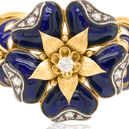 14K Gold Victorian Diamond Enamel Floral Bangle Bracelet - Lueur Jewelry