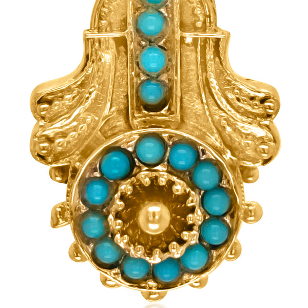 14K Gold Etruscan Revival Turquoise Pendant - Lueur Jewelry