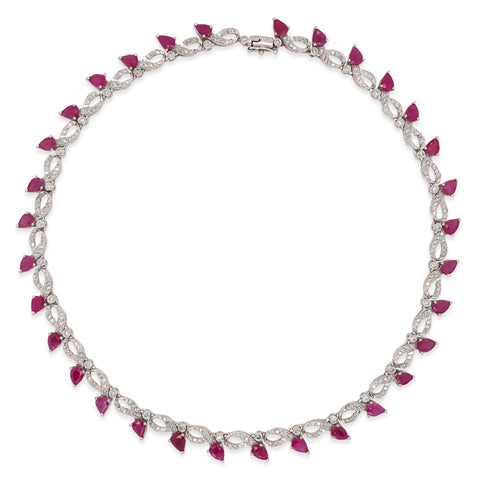 18K Gold Ruby Diamond Necklace - Lueur Jewelry