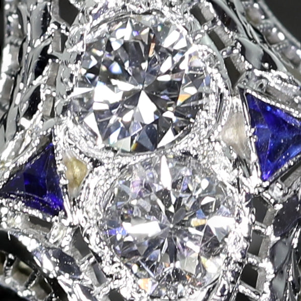 Art Deco Platinum Diamond  Sapphire Ring - Lueur Jewelry