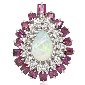 14K Gold Diamond Ruby Opal Ring - Lueur Jewelry