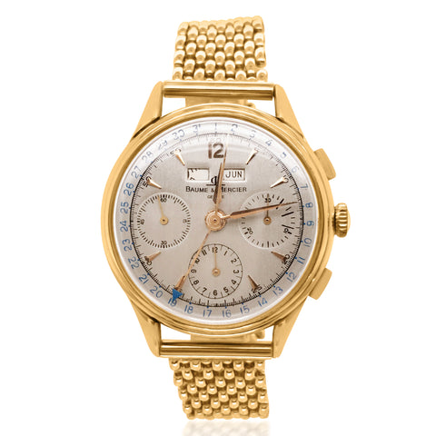 Baume & Mercier, 18K Gold Triple Date Chronograph Wristwatch - Lueur Jewelry